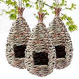 Kimdio Bird House,Winter Bird House for Outside Hanging,Grass Handwoven Bird Nest,Hummingbird House,Natural Bird Hut Outdoor,Birdhouse for Kids,Songbirds House - 3pcs