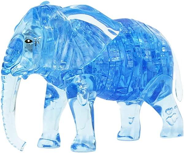 Domccy 1pc 3D 水晶拼图 DIY 大象模型积木 DIY 小工具积木建筑办公室儿童玩具礼物蓝色厨房和家居用品装饰品工具配件