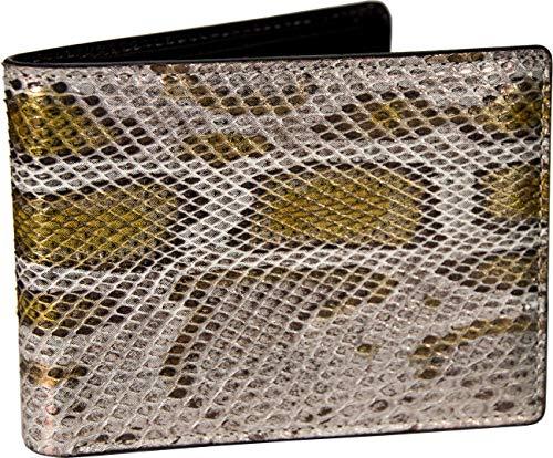 Etabeta Artigiano Toscano - Cartera de hombre de auténtica piel de pitón con certificado CITES - Molurus con perla pintada - Fabricada en Italia