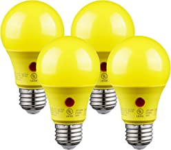 TORCHSTAR A19 AUTO On/Off LED Yellow Bug Light Bulbs, 9W 2700K Soft White, Outdoor Dusk to Dawn Photocell Sensor, Bug Free, UL Listed, Damp Location, Patio, Deck, Porch, Hallway, Backyard, Pack of 4