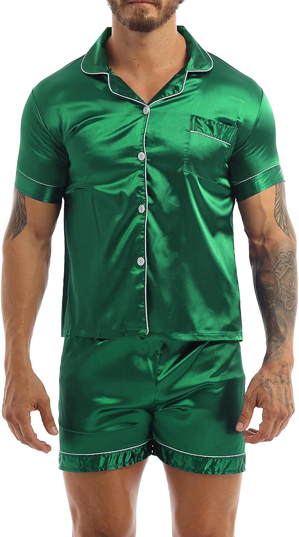 Hularka Men's Pajamas Set Satin Silk Lounge Shorts Short Sleeve Shirt 2-Piece Nightwear Sleepwear