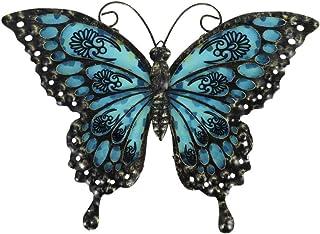 Decoración retro para el hogar, metal y vidrio, diseño de mariposa, color negro, tema de jardín, decoración para sala de e...