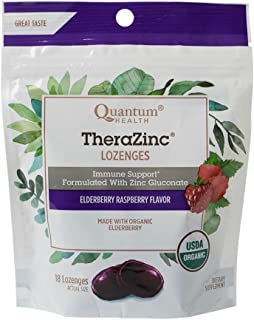 Quantum Health TheraZinc Elderberry Raspberry Lozenges, Immune Support in Tasty USDA Organic Drops for Cough Relief, Bagge...