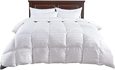 puredown All Season Down Comforter Stripe White 100% Natural Natural Cotton Shell Medium Warmth Quilted Duvet Insert Twin/Twin XL Size
