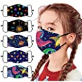 Reusable Breathable,5Pcs Kids Protective Cotton Face Bandanas,Washable Cute Cartoon Printed Face_Masks With Adjustable Ear Loops,Outdoor Haze Dust Face Health Protection for Children Back to School