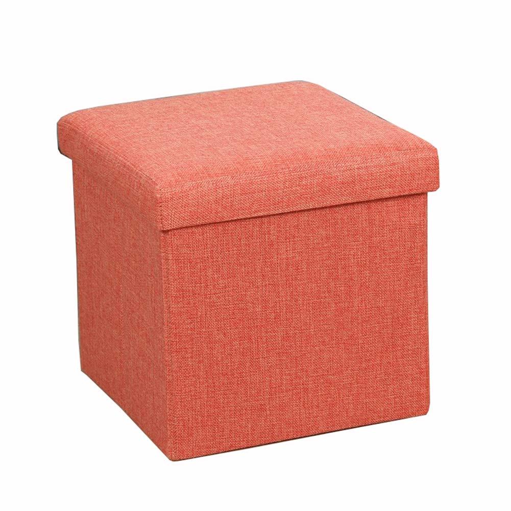 SND-A Taburete Plegable, Cubos de Tela, Taburete, Caja de Almacenamiento de Juguetes, Banco de Zapatos, para Sala de Estar de Dormitorio, Carga máxima de 120 kg,Naranja,38 * 38 * 38cm: Amazon.es: Hogar