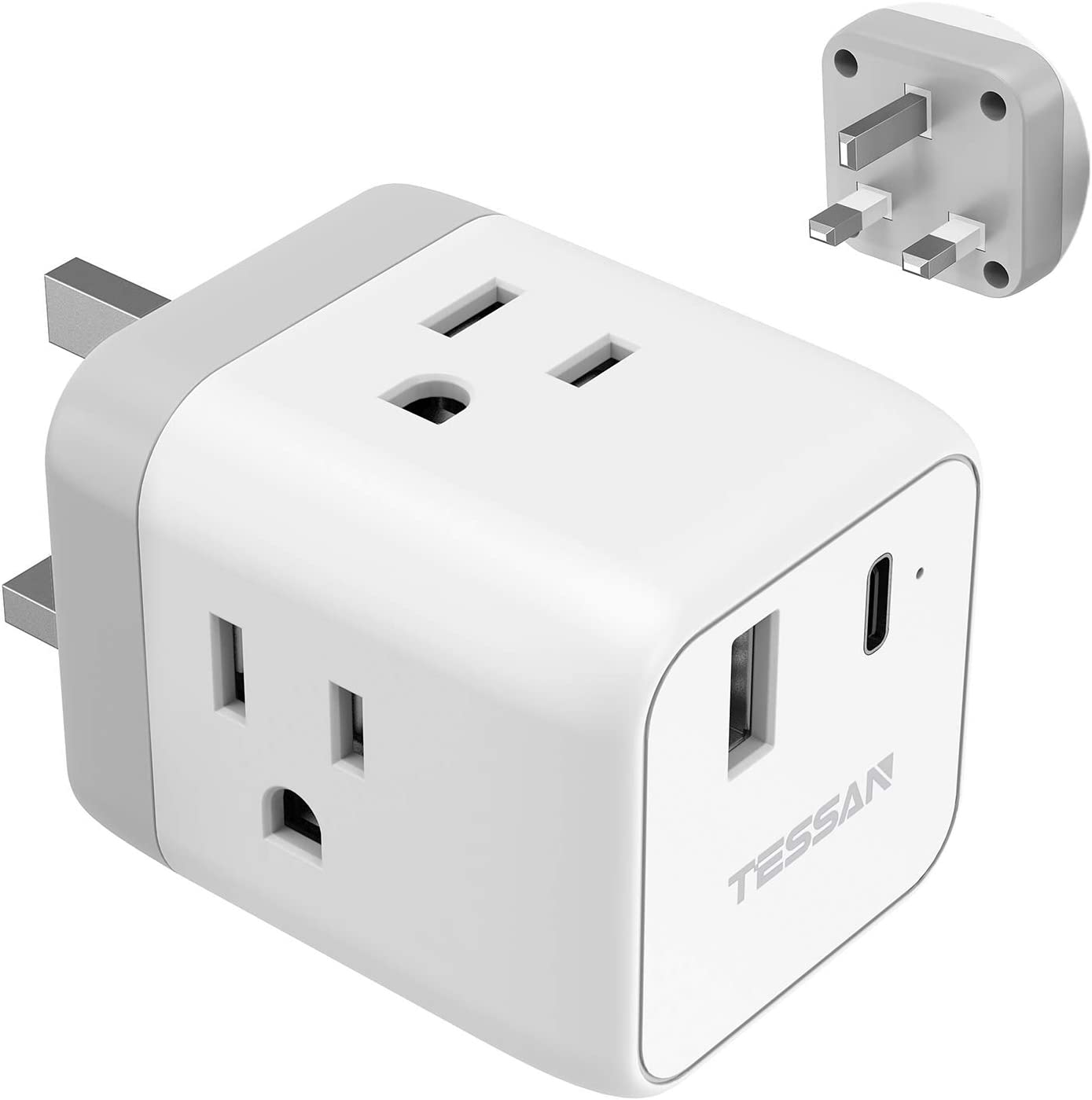 UK Ireland Travel Adapter with USB C PD, TESSAN UK Power Adapter with 3 American Outlets and USB-A USB-C PD Quick Charging Ports, USA to UK Hong Kong British England Scotland Plug Adaptor, Type G