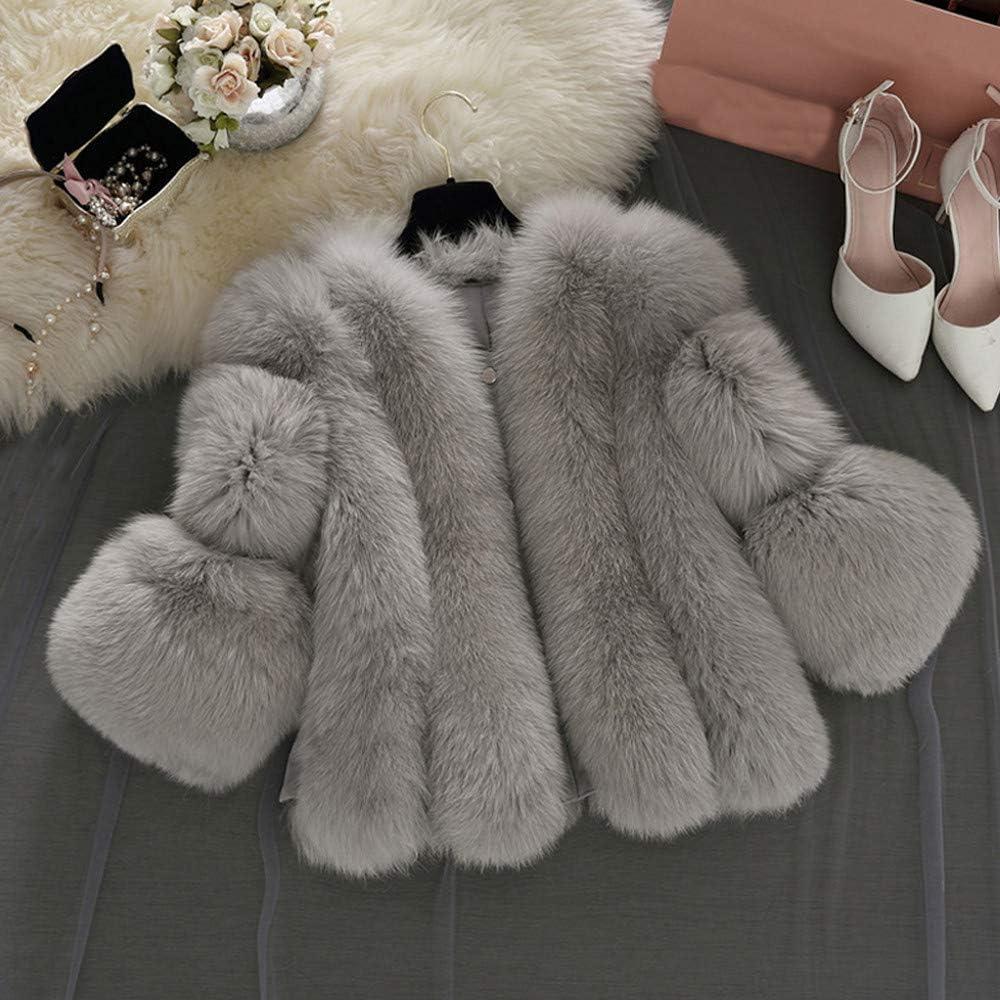 Lulupi Damen Faux Pelz Jacke Kurze Elegant Pelzmantel Winter Herbst Kunstpelz Kunstfell Warm Plüschjacke Winterjacke Mantel Coat S-4XL Grau