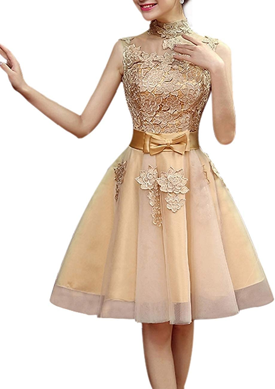 HONGFUYU Cocktail Party Dress A-line High Neck Short Mini Lace Tulle with Appliques
