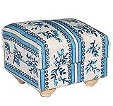Miniatur Couch Hocker / Sofa Hocker - für Puppenstube Maßstab 1:12 - blau & weiß gemustert -...