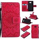 BoxTii Coque Galaxy A3 2016, Etui en Cuir de Première Qualité [avec Gratuit Protection D'écran en Verre Trempé], Housse Coque pour Samsung Galaxy A3 2016 (#5 Rouge)