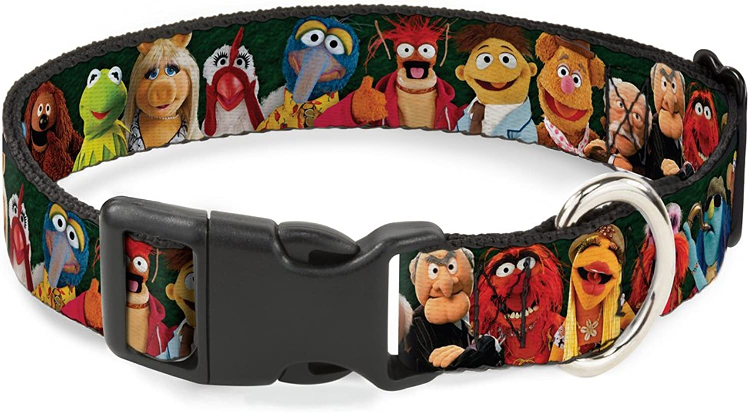 BuckleDown PCWDY281WM Dog Collar Plastic Clip Buckle, Muppets 20Character Group Pose Greens, 16 23