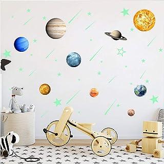 Luminoso Pegatinas De Pared, 9 Planetas Pegatinas Fluorescentes + 28 Pegatinas De Estrellas Fluorescentes + 12 Pegatinas De Meteoros Fluorescentes. Decoración De Arte Espacial
