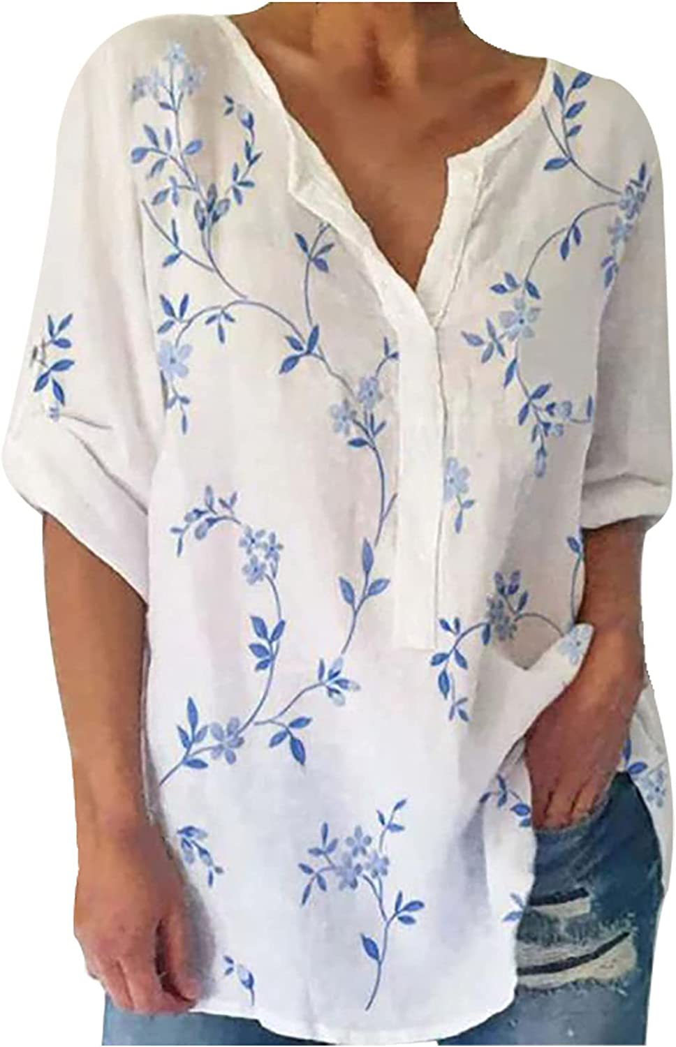 Long Sleeve Shirt for Women Leaves Printing V Neck Loose Blouses Comfy Breathable Fashion Pullover Tops