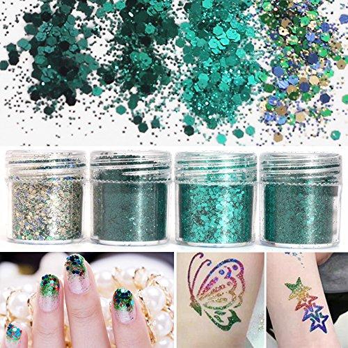 EgBert 4 Box 10Ml Grün Irisierende Nail Art Glitter Pulver Blatt 1 Mm Pailletten Sparkly Bunte Acryl Tipps