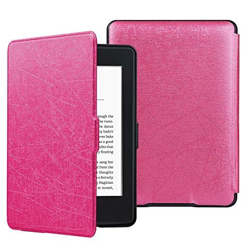 HiveNets Custodia rigida Kindle Paperwhite Premium Silk Cover più sottile e leggera con Auto Wake/Sleep per Amazon 1/2/3 Generation (non per il 2018) Rosa