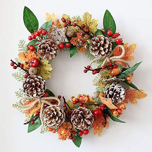 LLZK Dekoration Kranz, Halloween Handgemachte Maple Leaf Pine Cone Haustür Kranz, Herbst/Winter/Festival/Wand/Home Decor (13,8 Zoll) (Farbe : #1, Größe : 35cm)