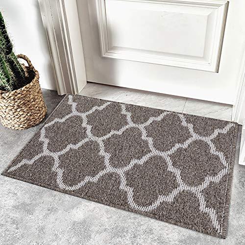 Homaxy rutschfest Fußmatte Waschbar Schmutzfangmatte Fussmatte Aussen Pflegeleichte Sauberlaufmatte Türmatte für Innen & Außen - 80 x 120 cm, Braun Geometrie