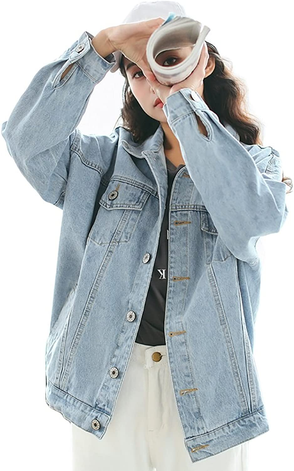 July Denim Jacket Fashion Girls Long Sleeve Coat Retro Cowboy Jacket Student Casual Outerwear (color   Light bluee, Size   XS)