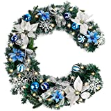 FUNARTY 6 Feet Christmas Garland with 30 Lights, Lighted Christmas Garland with Blue Ornaments for Winter Holiday Party Decor
