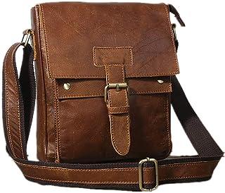 Samwestart Shoulder Bag for Men Casual Business Trip Travel Genuine Leather Adjustable Sling Crossbody Bag with Zipper & H...