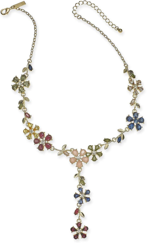 INC International Concepts I.N.C. Gold-Tone Multi-Stone Flower Lariat Necklace, 18
