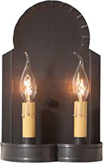 Irvin's Country Tinware Hanover Double Wall Sconce in Blackened Tin, wired