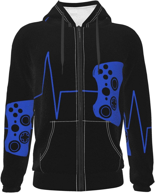Heartbeat Of A Gamer Teenage Zipper Hoodie Pockets Hooded Sweatshirts Jacket