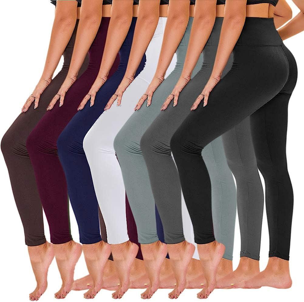 TNNZEET 7 Pack High Waisted Leggings for Women - Buttery Soft Workout Running Yoga Pants : Sports & Outdoors