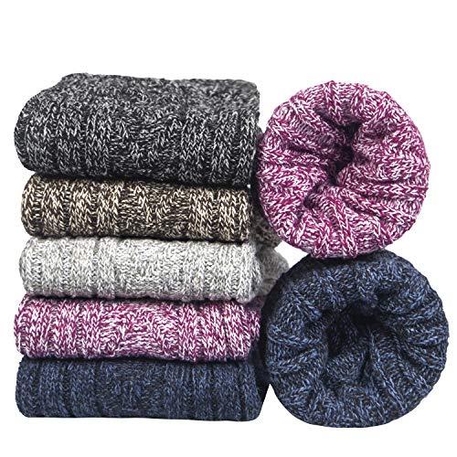 5pairs Women Merino Wool Socks Winter Thermal Soft Business Chunky Knitting Socks for Ladies Breathable Premium Hiking Socks Lightweight, Wool Socks Gift for Men Women