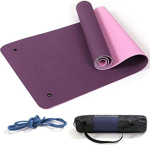 QIANGYUE Double Trou de Suspension Tapis de Yoga Grand Tapis Anti-dérapant pour Pilates Tapis d'entraînement épais en TPE avec Courroie de Transport Gratuite pour Utilisation à la Maison