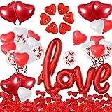 iZoeL Valentinstag Dekoration Set 50 Herz Kerzelichte 1000 Rosenblätter Love Folienballon Herze Luftballon Romantische Abend Hochzeit Party Dekoration