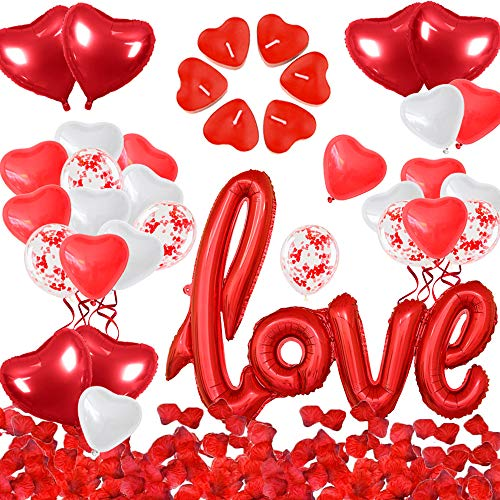 iZoeL Décorations Saint Valentin, XXL Ballon LOVE 50 Bougies en Forme de Coeur 1000 Pétales Rose Rouges 28 Ballons Coeur Rouges, Décor Romantiques pour Fiançailles D'anniversaire Mariage (Red)