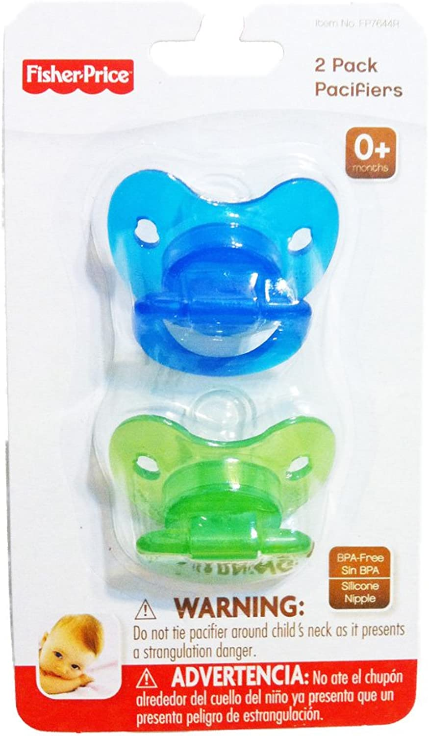 FisherPrice Pacifiers 2 Pack 0+Months (bluee & Green 2 Pack)