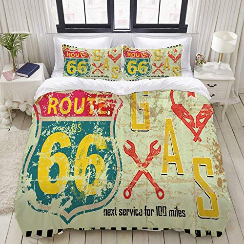 Duvet Cover,Route 66 Highway Road Gas Station Fuel Signs Grunge American Dreamers Texas Classic Design,Bedding Set Ultra Comfy Lightweight Luxury Microfiber Sets (3pcs)