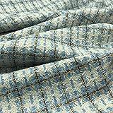 Tessuto Tweed Jackie – con fili dorati – 100% poliestere – Fashion, abbigliamento, cucito, scampolo da 250 cm di lunghezza x 148 cm di larghezza | Blu, Bianco – Oro – 2,50 m