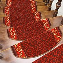 Non-Slip 7 Set of Stair Pads Step Carpet Non Slip Adhesive Rug/Solid Wood Stairs Mat for Stair Tread,65cmX24cm for Home De...