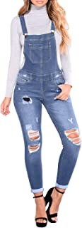 Womens Distressed Ripped Denim Skinny Jeans Jumpsuit Overalls