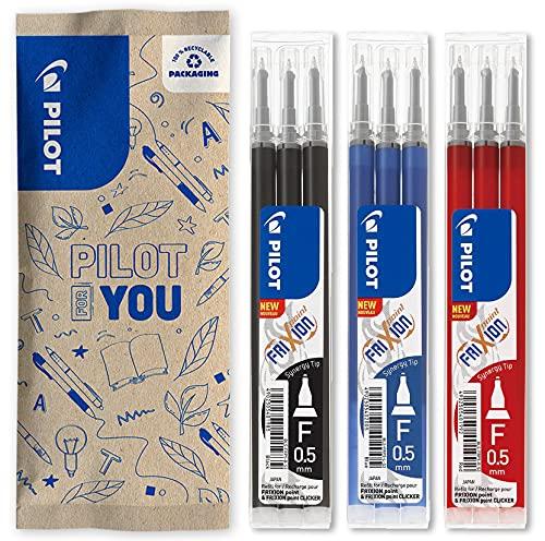 Pilot - Juego de 3 fundas de recambio FriXion para bolígrafo borrable, compatibles con FriXion Point y FriXion Point Clicker, color azul, negro y rojo