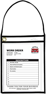 "C-Line Shop Ticket Holders with Straps, Stitched, Black, Both Sides Clear, 9"" x 12"", Box of 15..."