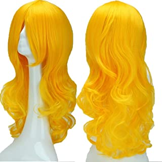 2-5 Days Delivery Unisex Japanese Anime Cosplay Wigs Synthetic Long Curly Full Party Costume Wig Layered with Bangs and Cap Halloween Wigs for Women Men Girl Boy Teens (24