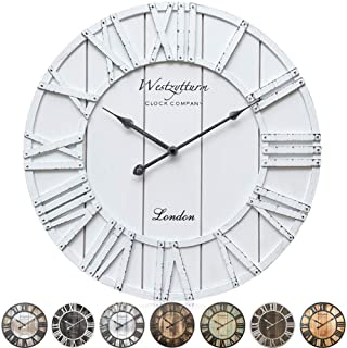 Westzytturm Rustic Wall Clock Farmhouse White Wood Frame Silent Movement Battery Operated Roman Numeral Large Wall Clocks ...