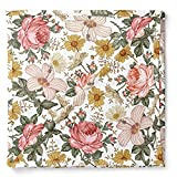 Muslin Swaddle Blanket – Garden Floral (White) Floral Baby Blanket Wrap Cute Infant Newborn Essential Cotton Swaddle, Trendy Receiving Blankets, Great Shower Gift for Girls by Mini Wander