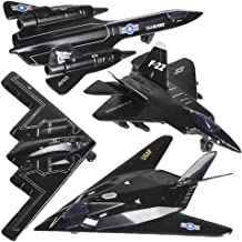 ArtCreativity Diecast Stealth Bomber Toy Jets with Pullback Mechanism, Set of 4, Die Cast Metal Jet Plane Fighter Toys for Boys, Air Force Military Cake Decorations, Aviation Party Favors