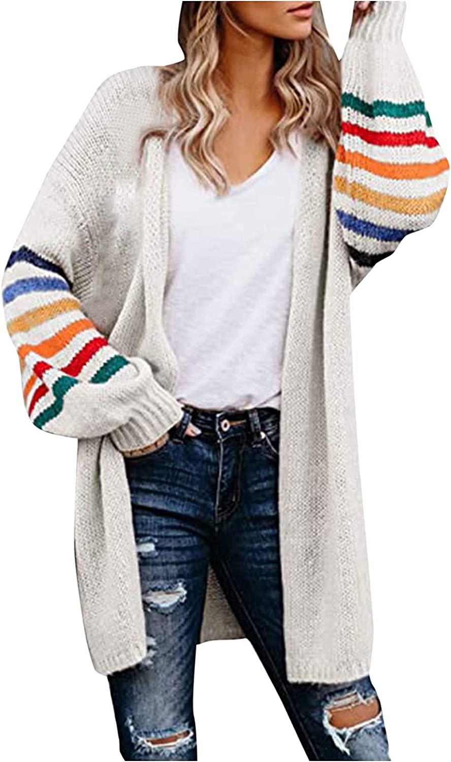 UBST New Womens Stripe Long Sleeve Knit Cardigans Coat,2021 Autumn Fashion Casual Warm Sweater Tops Loose Fit