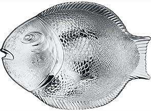"Pasabahce 10258, 14.25""x10.5'' Large Glass Dinner Fish Plate, Unique Design Serving Platter Dish, Fish Shape Textured Glas..."