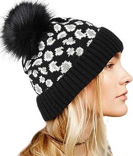 بوهيند ليوبارد قبعة صغيرة محبوكة مع فرو صناعي بوم دافئ أسود قبعة صغيرة لينة تمتد كابل اكسسوارات الشعر للنساء والفتيات