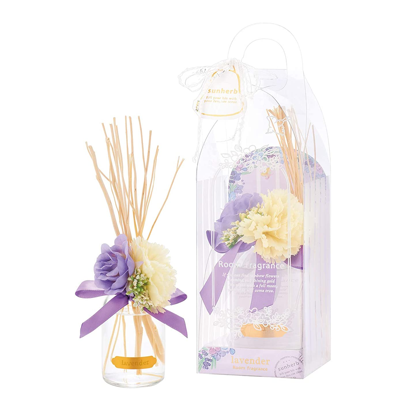 ロッジ生理鎮静剤サンハーブ ルームフレグランスフラワー ラベンダー 100ml(芳香剤 花かざり付 ふわっと爽やかなラベンダーの香り)