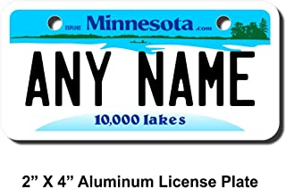 TEAMLOGO Personalized Minnesota License Plate - Sizes for Kid's Bikes, Cars, Trucks, Cart, Key Rings Version 1