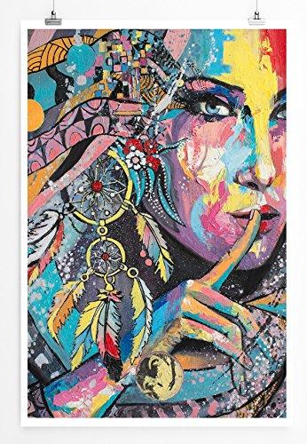 Eau Zone Images – Image – Femme colorée avec attrape-rêves – Toile d'art murale fabriquée en Allemagne